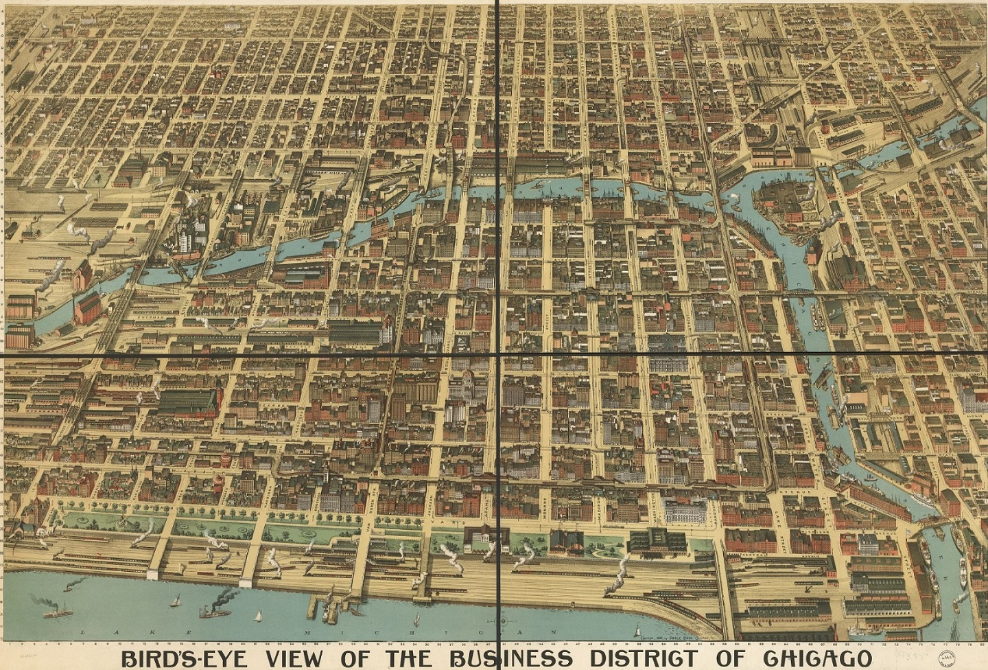 1898 Drawn Picture of Chicago Business District